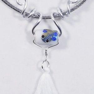 Aluminum Silver Spiral Pendant White Lampwork Bead